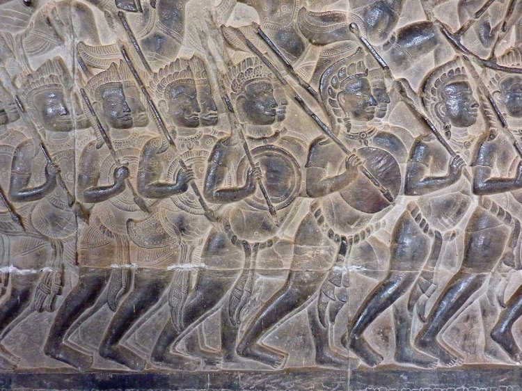 056 Mahabharata Warriors at Angkor Wat